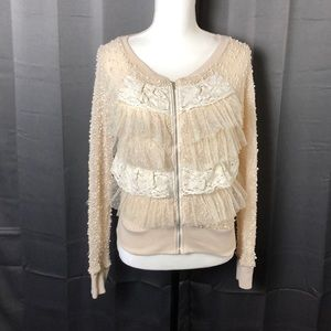Anthropologie A'reve Cream Lace Zipped Cardigan